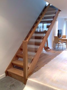 I don't like this much, as it is too cheap looking and narrow. But I like the open treads. Maybe open treads could be glass backed so crap doesn't through but light does? Staircase Pictures, Timber Staircase, Open Staircase, Wooden Staircases, Wooden Stairs, Staircase Design, Stairways, House Stairs, Carpet Stairs