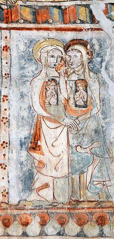 Wandmalerei, Kirche Sogn Gieri, Rhäzün, Graubünden, Schweiz, 1330/40