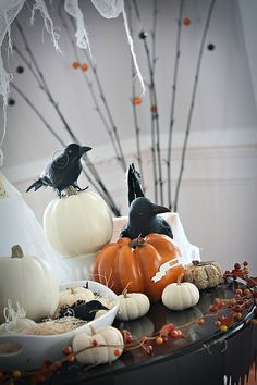 Tree branches, pumpkins, and dollar store crows.love this Halloween vignette halloween vignettes Samhain Halloween, Halloween Magic, Halloween Christmas, Spooky Halloween, Halloween Themes, Halloween Pumpkins, Halloween Crafts, Happy Halloween, Halloween Party