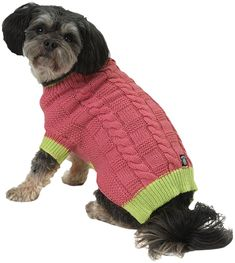 Cody's Chunky Cable Dog Sweater - Pink and Lime Dog Sweater Pattern, Knit Dog Sweater, Pink Sweater, Cable Sweater, Cable Knit, Pet Dogs, Dog Cat, Large Dog Sweaters, Pet Fashion