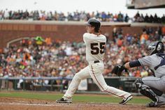 San Francisco Giants' Tim Lincecum singles against the San Diego Padres in the seventh inning of their baseball game Wednesday, June 25, 2014, in San Francisco. Lincecum threw his second career no-hitter. San Francisco won the game 4-0. (AP Photo/Eric Risberg)