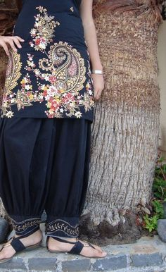 Black Gold DIVALI Harem Pants Indian by southindiabazaar on Etsy, $38.00