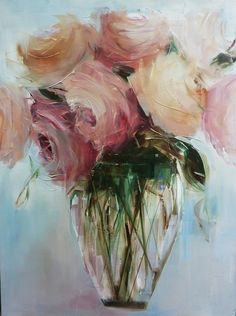 "red-lipstick: ""Nicole Pletts (b. 1964, Westville, South Africa) - Roses Paintings """