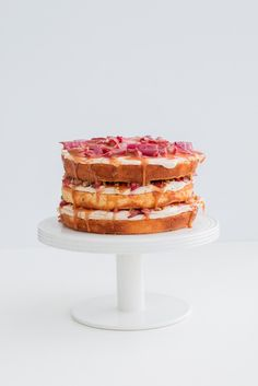 Rhubarb, salted caramel and pistachio cake | The Brick Kitchen-7
