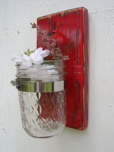 Primitive Curtains | primitive decor flower vase wood decor cottage home goods decor - red