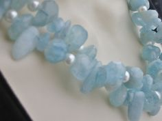 Aquamarine Pearl Necklace Large Faceted Nuggets 2 by purplesage333