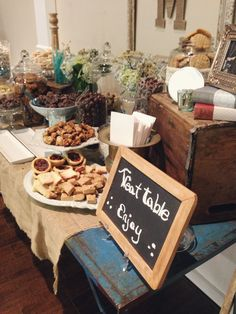 Rustic Vintage themed event - Treat Table. #foundrentals #silveranniversary