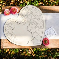 Wooden heart jigsaw puzzle wedding guest book available to buy from @theweddingomd