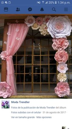 Discover thousands of images about Paper Flower Backdrop Paper Flower Wall Paper by MioGallery Giant Paper Flowers, Diy Flowers, Balloon Flowers, White Flowers, Birthday Decorations, Wedding Decorations, Paper Decorations, Wedding Ideas, Girl Shower