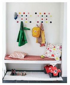 We would change our shoes often and make sure we put our coats away too, if we had a spot like this! :)