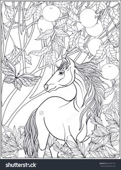 Horse In The Forest Coloring Page For Adults Shutterstock 450337774