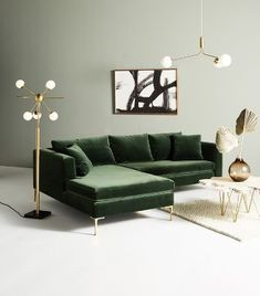dekoration wohnung Anthropologie Edlyn Petite Two-Piece Chaise Sectional Design Living Room, Living Room Green, Living Room Sofa, Home Living Room, Living Room Furniture, Home Furniture, Unique Furniture, Space Furniture, Wooden Furniture