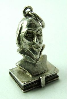 Rare Vintage Silver Charm - Shakespeare - book opens to list of the works