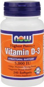 Now Foods Vitamin D3 List Price: 	$25.99 Price: 	$12.49  FREE Shipping on orders over $25.  You Save: 	$13.50 (52%) In Stock. Ships from and sold by Amazon.com.  Size: 240 softgels Structural Support - 5,000 IU Highest Potency Helps Maintain Strong Bones Supports Dental Health
