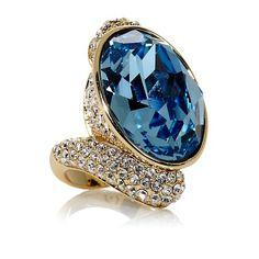 "AKKAD ""Hello Amore"" Crystal Goldtone Ring"