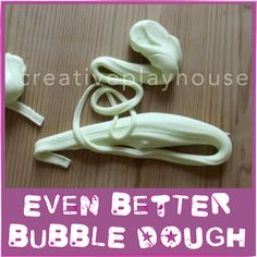 Even Better Bubble Dough - 1 cup of cornflour/cornstarch : 2 tbsp washing up liquid/dish soap : 2 tsp olive/cooking oil. Sensory Activities, Sensory Play, Toddler Activities, Sensory Table, Bubble Dough, Slime, Dawn Dish Soap, Messy Play, Play Food