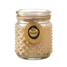 Who doesnt love the aroma of fresh butter cream frosting? This darling golden hobnail jar candle will fill your room with the scent of freshly frosted cupcakes! 16 oz and burns up to 100 hours.