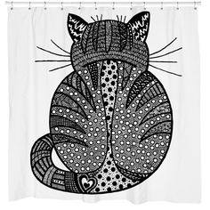 rear view - zentangle cat on shower curtain