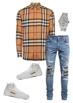 """""""Untitled #642"""" by aintdatjulian on Polyvore featuring Burberry, AMIRI, Rolex, men's fashion and menswear"""