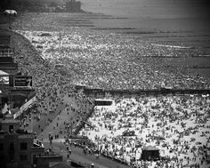 Crowds fill Coney Island's beaches on the Fourth of July, Brooklyn, New York, 1949.