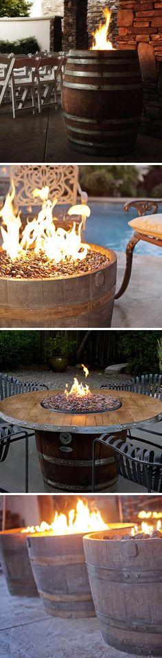Whiskey Barrel Fire Pits #PinMyDreamBackyard