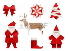Realistic origami Christmas set Santa deer christmas tree snowflake and so Vector illustration isola Stock Vector