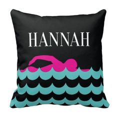 Do you love to swim? If so, this throw pillow is perfect for you! You can choose ANY of the colors from our palette for the accent pillow or order it in the hot pink, pool, black and white color combo shown. This custom throw pillow is the perfect bedroom decor for any boy, girl or teen swimmer. Great kids sports themed Christmas present or birthday gift for athletes.