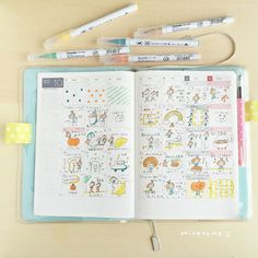 Instagram media by mizutamahanco - 10月のほぼ日手帳。 マンスリーちょこっと絵日記。 さぼり4回。 #ほぼ日手帳 #絵日記…