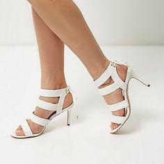 Witte schoenen met hoge hakken en smalle bandjes - sandalen - schoenen / laarzen - dames