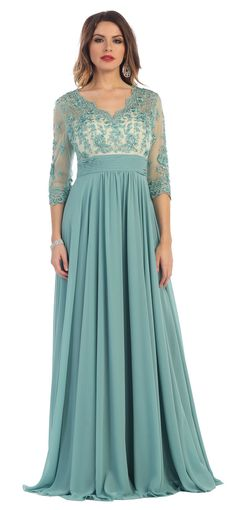 This elegant mother of the bride floor length dress comes with 3/4 sleeve, illusion neckline,rhinestone embroideries, hand beaded, sheer mesh, lace applique and pleated chiffon material. This dress is