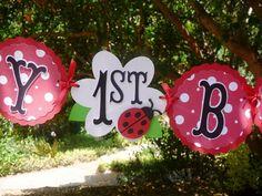 ladybug birthday party ideas | Ladybug Birthday Banner Custom 1st birthday by EMTsweeetie on Etsy