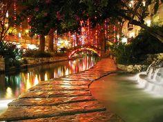 Part of The River Walk in San Antonio, Texas.