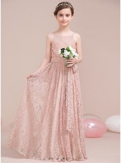 A-Line/Princess Scoop Neck Floor-Length Lace Junior Bridesmaid Dress With Bow(s)