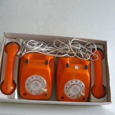 2 Vintage Rotary Phones Toy Walkie Talkie Intercom by ismoyo. My set was pink. I got them the Christmas I had the flu. Christmas night I slept on a folding cot in the family room with the Christmas tree and talked to my sister on the phone.