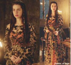 In the twenty-first episode Mary wears this stunning custom made Nude Leaf Printed Overlay Dress. Worn with Gillian Steinhardt labyrinth and signet rings.