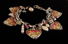 Art nouveau roses wedding china. Broken china jewelry heart charm bracelet. Made from a broken china plate by Dishfunctional Designs