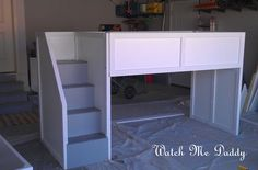 simple DIY low bunk beds for girls when it's time to share a room