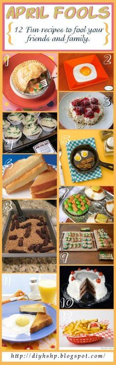 12 Fun April Fools Recipes Fool your family by making them dessert for dinner and breakfast for desert. Check out these fun recipes. April Fools Pranks, April Fools Day, Cute Food, Good Food, Yummy Food, Holiday Treats, Holiday Recipes, Fool Recipe, Menu