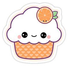 """Cute Orange Cupcake"""" Stickers by sugarhai Cute Food Drawings, Cute Kawaii Drawings, Easy Drawings, Arte Do Kawaii, Kawaii Art, Kawaii Stickers, Cute Stickers, Printable Stickers, Planner Stickers"""