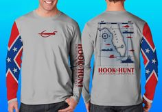 Florida Fish Map Performance Shirt in battle grey with the Confederate flag on one sleeve. Top Seller! Made in the USA