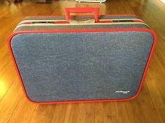 Vintage Fleetwood 2000 Blue Red Suitcase Vinyl Jean Pattern w Key | eBay