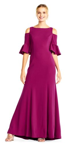 Adrianna Papell - Cold Shoulder Bell Sleeves Jersey Gown in Purple Mob Dresses, Types Of Dresses, Petite Dresses, Mermaid Skirt, Mermaid Gown, Cold Shoulder Gown, Shoulder Cut, New Dress, Lace Dress