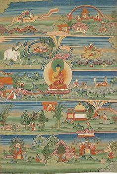 Bhutanese painted thanka of the Jataka Tales, Century, Phajoding Gonpa, Thimphu, Bhutan - Thangka Thangka Painting, Buddhist Art, Tibetan Buddhism, Pilgrim, Indian Art, Miniature, History, Artwork, Bhutan