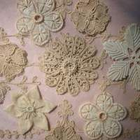 Antique Hand Made Re-Embroidered Lace 6 Yards 25 inches   Vintage Passementerie