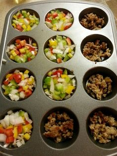 Fast Metabolism Diet, Phase 2 Breakfast Muffins! Saves time and works great with Salsa. Ingredients; italian chicken sausage,  bell peppers, onions, egg white. #highmetabolicdiet