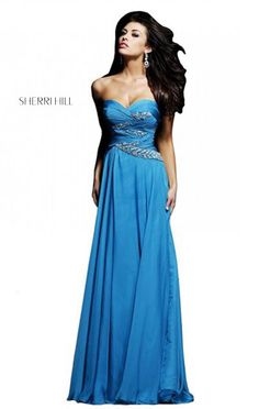 Cheap Strapless Sherri Hill 3881 Beaded Teal Chiffon Long Bodice Prom Dress