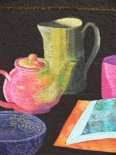 Tea, detail, still life art quilt by Sarah Ann Smith. Started in a workshop by Esterita Austin.