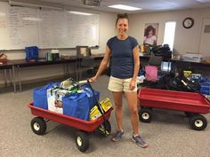 The generosity of our community allowed us to provide several school districts with free school supplies for their students in need. Here's Angela from Manitou Springs School District picking up supplies.