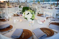 Nautical Rehearsal Dinner www.beourguestpartyrental.com love the rattan chargers!