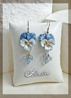 Polymer clay pansy earrings!